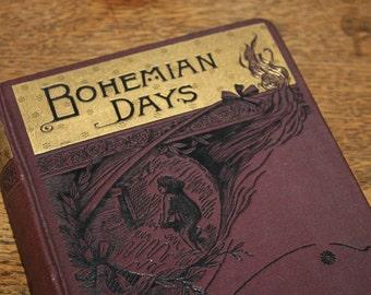 Bohemian Days by Clara Moyse Tadlock 1889, Antique Book, Vintage Book, Beautiful Book, Purple Book, Purple and Gold, Art Nouveau, Unusual