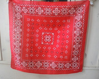 Vintage 1960s cotton bandana fast color made in the USA red never used 22 x 21.5 inches