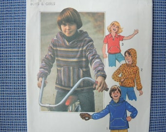 vintage 1970s Simplicity sewing pattern 8121 boys or girls size 12 pullover tops