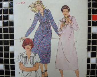 vintage 1980s Butterick sewing pattern 6025 misses dress and top size 10
