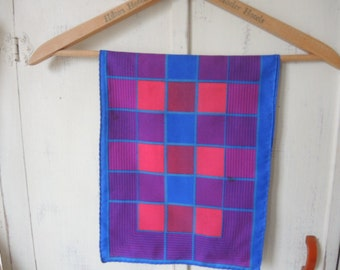 Vintage 1980s polyester scarf jewel tones plaid squares  10 x 54 inches
