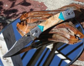 Handmade Damascus Folding Hunter Knife with Cherry Wood and Turquoise Handles, Custom File Work, Leather Sheath, FREE Shipping