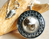 Music box locket,  round locket with music box inside, in silvertone with tiny sea life treasures encased in glass
