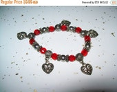 50% OFF Vintage bracelet, red and silvertone beaded heart charm bracelet