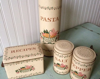 Vintage Kitchen Metal Tins, Pasta, Recipes , Salt Pepper Shakers, Tin Box Company Designed by Daher, Traditional Cream Basket