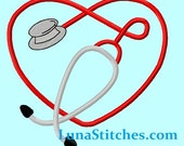 Stethoscope Heart filled Embroidery Design    INSTANT DOWNLOAD
