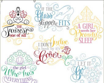 Swirly Princess Sayings Clipart  -Personal and Limited Commercial Use-fairy tale prinesses clip art