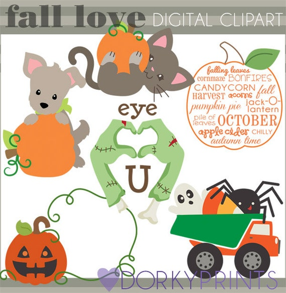 Halloween Clipart Fall Love Personal and Limited Commercial