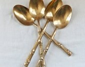 Vintage bronze serving spoons…large spoons...bamboo design.