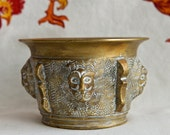 Vintage brass bowl with lions heads…brass censer…libation…small but heavy.