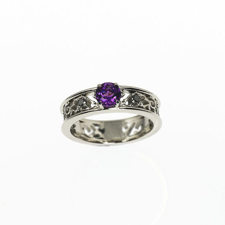 amethyst ring filigree engagement ring black by TorkkeliJewellery
