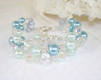 Pastel Sea Blue Triple Strand Bracelet Blue Wedding Bracelet Sparkly Crystal Bracelet Gifts for Her Handcrafted Bracelet