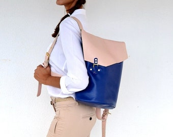 Blue and nude leather backpack / Handmade leather bag / Italian cow, high quality leather