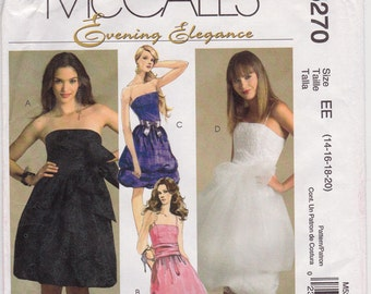 FF Strapless or Spagetti Strap Evening Dress Sewing Pattern - McCall's M5270 - Size 14-20, Bust 36-42, Formal or Prom Dress UNCUT