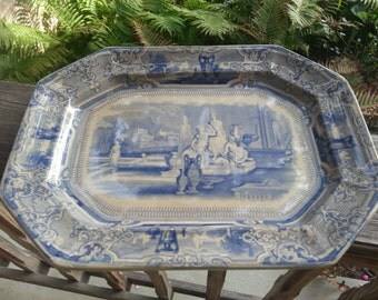 Antique Thomas Goodfellow Colonna Platter Blue English Romantic Staffordshire Transferware Early English Transferware 19th Century