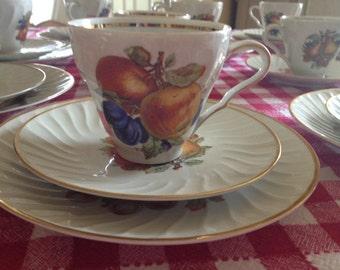 Tea Set for 12 Old Nuremburg Bavaria Germany Fruit Teacup and Saucers and Plates 34 Pieces