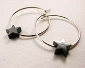 Little Haematite Star hoop earrings, gold/ silver plated