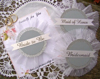 Wedding Party Pins, Bachelorette Party Pins, Silver Glitter and Gray, Bride Badge, Bride Pin, Bride Corsage, Bridal Shower, Hen Party Pins