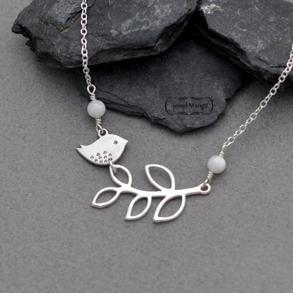 bird on branch necklace in silver, white beaded necklace, bird, branch, leaves, cute, shell bead, lariat necklace, dainty, woodland, gifts