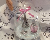 American Girl Doll Size GRACE Miniature Paris Glass Dome Cloche with Eiffel Tower, Fleur de lis