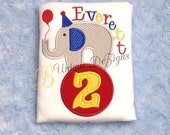 Elephant Birthday Shirt, Circus Shirt, Applique Alphabet Shirt, Boys 1st Birthday Shirt, Applique Birthday Number T-Shirt or Bodysuit
