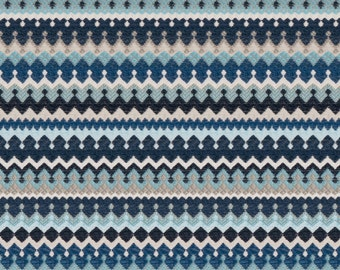 Aqua Navy Blue Upholstery Fabric by the Yard - Navy Blue Taupe Small Scale Fabric -  Blue Taupe Fabric for Furniture - Woven Navy Fabric