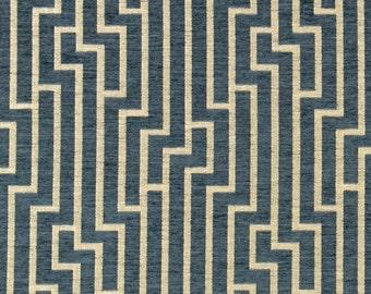 Ocean Blue Geometric Velvet Upholstery Fabric - Modern Blue Velvet Fabric - Velvet Geometric Pillow Covers - Geometric Headboard