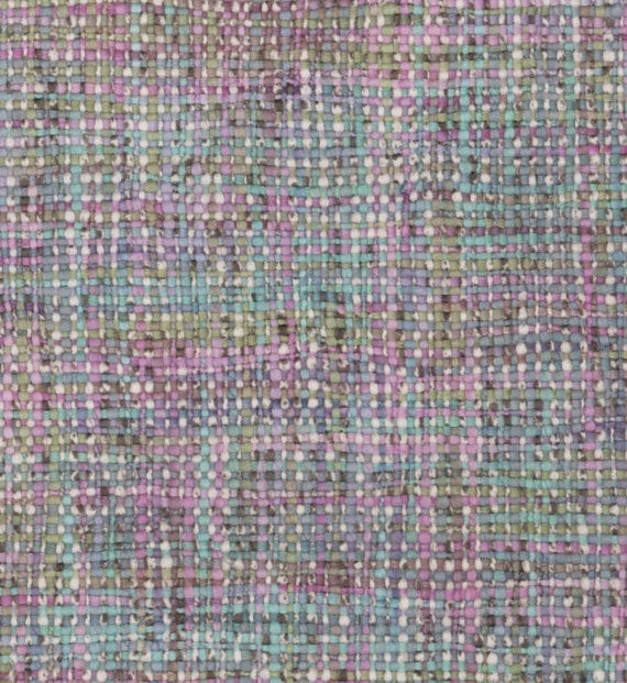 Aqua Mint Green Woven Upholstery Fabric Pink Tweed