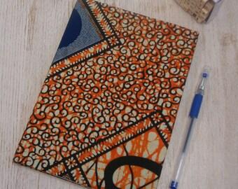Hardback A5 sketchbook Unique cartridge paper covered with African print 20 plain unlined sheets 40 pages 140gsm - burnt orange blue design