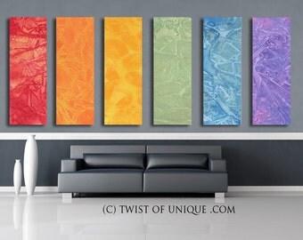 Pastel sunrise painting / CUSTOM 6 painting set / 60x20/ Oversized Abstract painting / Red, Orange, Yellow, Green, blue, purple, pastel