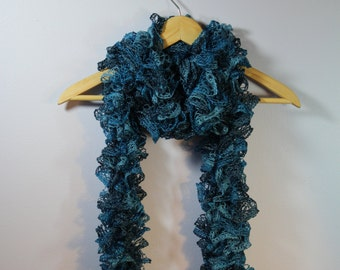 Metallic Blue Crochet Ruffle Scarf - Handmade Crochet Scarf - Shades of Blue Scarf - Ready To Ship!