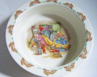 1936 Royal Doulton Bunnykins England Baby Dish Porridge Bowl Antique