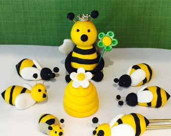 Polymer clay bee cake topper,spring, honey, her hive.