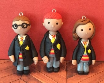 Polymer clay Harry Potter inspired ornaments, Christmas ornaments,handmade,Polymer clay figurines, cake toppers,children,kids.