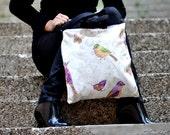 Water resistant Shoulder bag hand bag crossbody bag purse blue strong tote messenger bag sport bag shopping bag birds