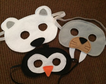Arctic Animals Felt Mask Trio - Inclues Walrus, Penguin, and Polar Bear