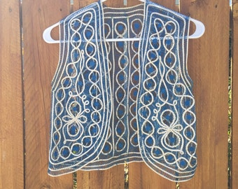 Blue and Cream Woven Pattern Accent Vest