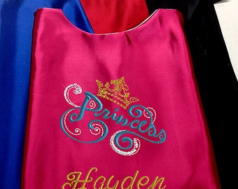 Super Hero Girl's Cape,  Embroidered Princess Cape,  Personalized with Name Hot Pink