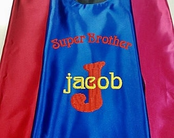 Super Hero Kid's Cape, Super Brother Cape Embroidered  Personalized Cape with Monogram Royal Blue