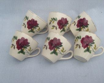6 vintage English rose tea cups
