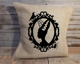 Frankenstein's Bride Burlap Halloween Pillow Cover