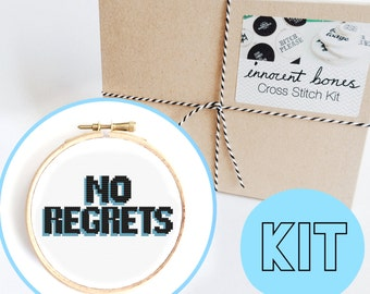 No Regrets Modern Cross Stitch Kit - easy chart design guide great for beginners - blue contemporary bad taste funny quote embroidery kit