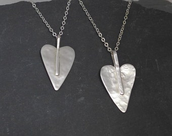 Love heart sterling silver pendant necklace, pretty, stunning, handmade, custom made, Fiona Lewis in UK