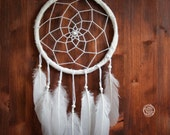 Dream Catcher - Winter Wonderland - With White Feathers, White Web and White Frame - Boho Home Decor