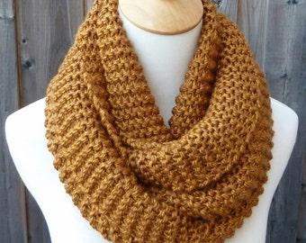 Dark Mustard Infinity Scarf - Amber Infinity Scarf - Chunky Knit Scarf - Circle Scarf - Ready to Ship
