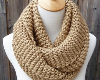 ON SALE - Wheat Infinity Scarf - Beige Infinity Scarf - Honey Infinity Scarf - Chunky Knit Scarf - Circle Scarf - Ready to Ship
