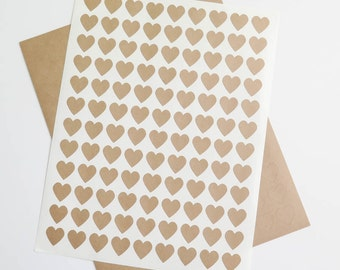 Kraft Labels | Small Heart Stickers, Brown Kraft Labels, Ink Jet and Laser Printable for Wedding Invitations, Scrapbooking, Packaging