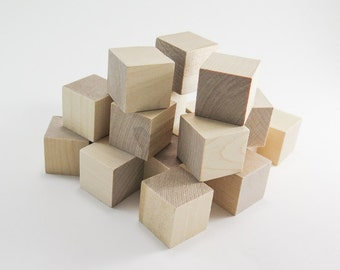 Unfinished Wood Blocks - 1 inch (25 mm) Solid Wooden Blocks | Unfinished Wood, Alphabet Blocks, Wooden Blanks, Wood Toys, Wooden Dice