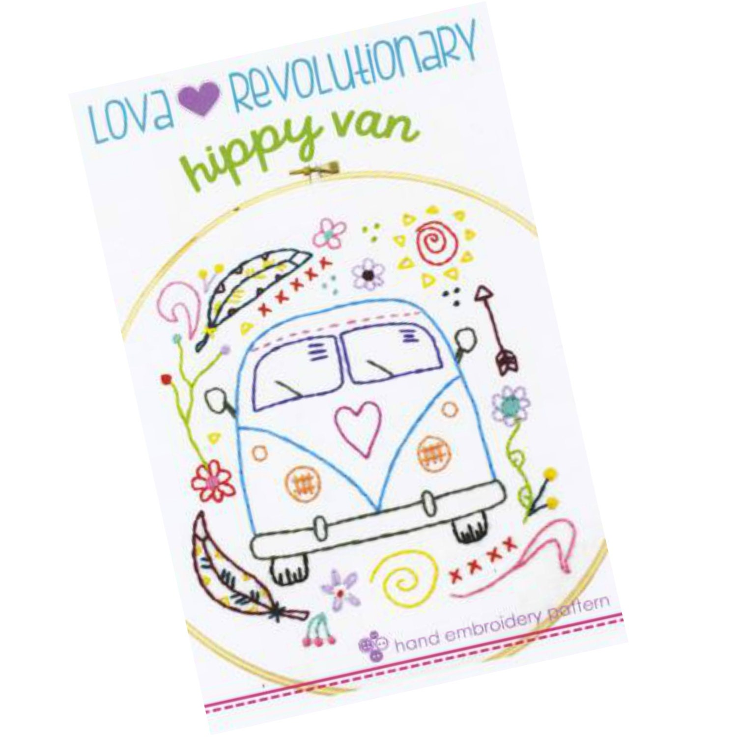 Vw van embroidery pattern modern hand by