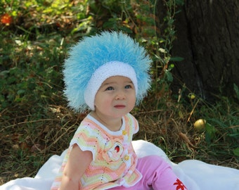 Baby hats / Cabbage Patch Kids Hat  / Beanie Wig  / Children  fuzzy hat  / Baby costume / Halloween Costume / Blue /  troll wig